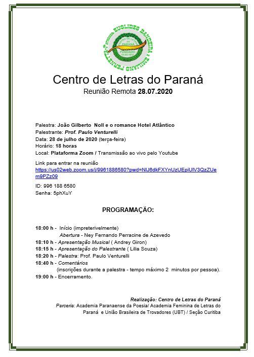 Paulo Venturelli profere palestra em evento do Centro de Letras