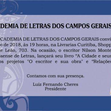 Monteiro fará lançamento em Ponta Grossa